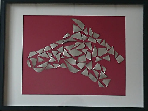 Stainless steel horse head mosaic