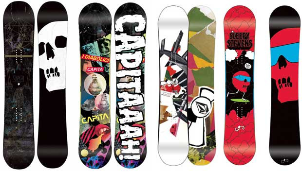 Snowboard graphics that need a BOARD BOOTIE - a snowboard protector and snowboard carrier.