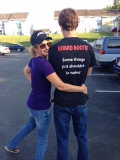 Rainier Guyer rocking a BOARD BOOTIE t-shirt at JMU in October '16