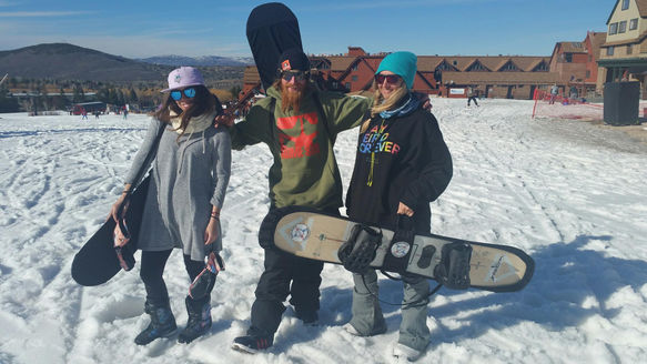 Ella, Danny and Ellen modelling their BOARD BOOTIES - Park City in March '17