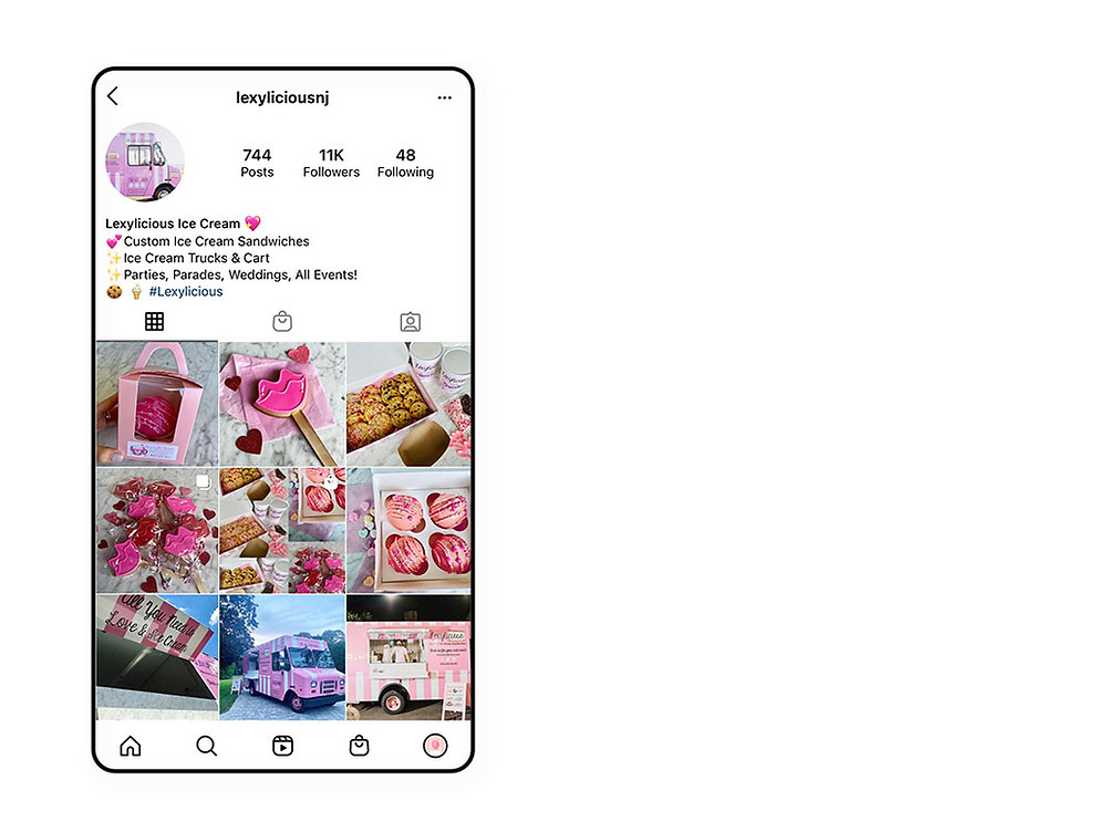 Lexylicious Ice Cream's pink Instagram feed