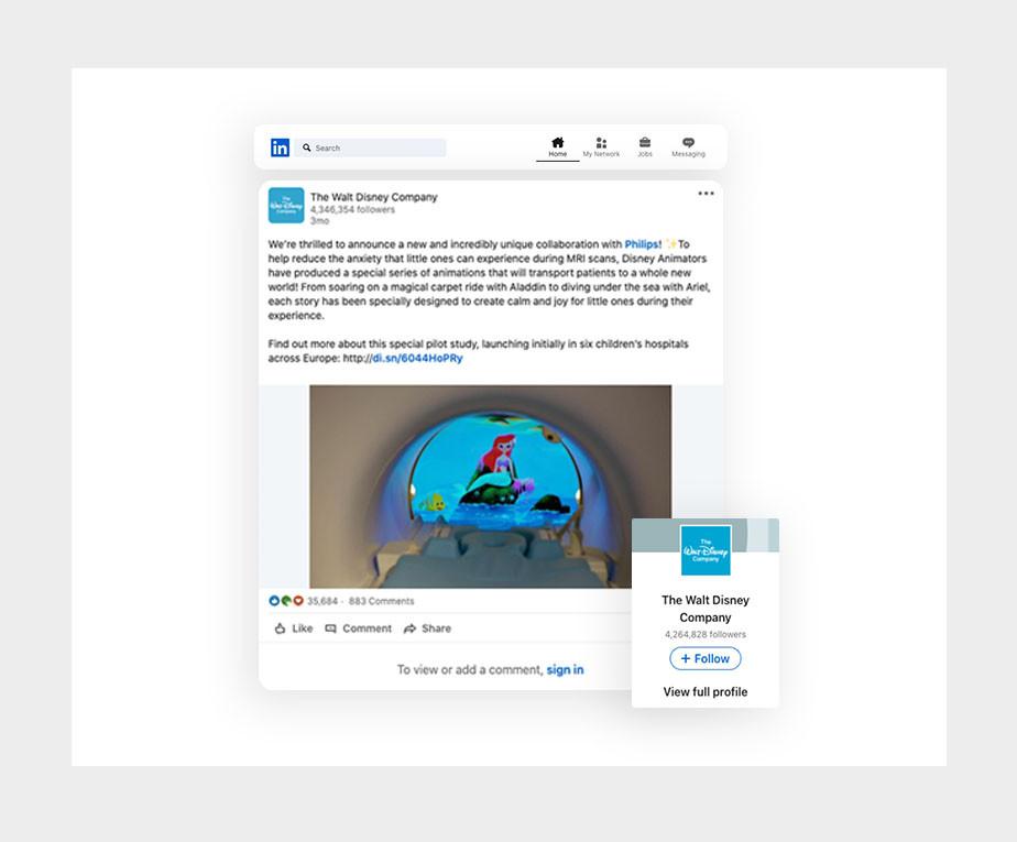 Walt Disney LinkedIn example of social post