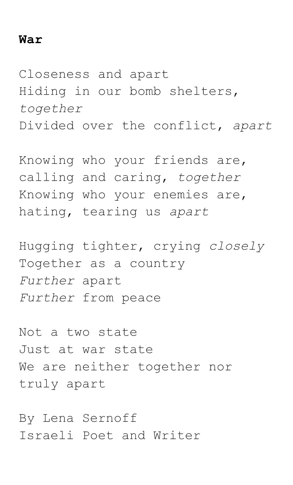 Israel Palestine Poem about war, peace and togetherness.