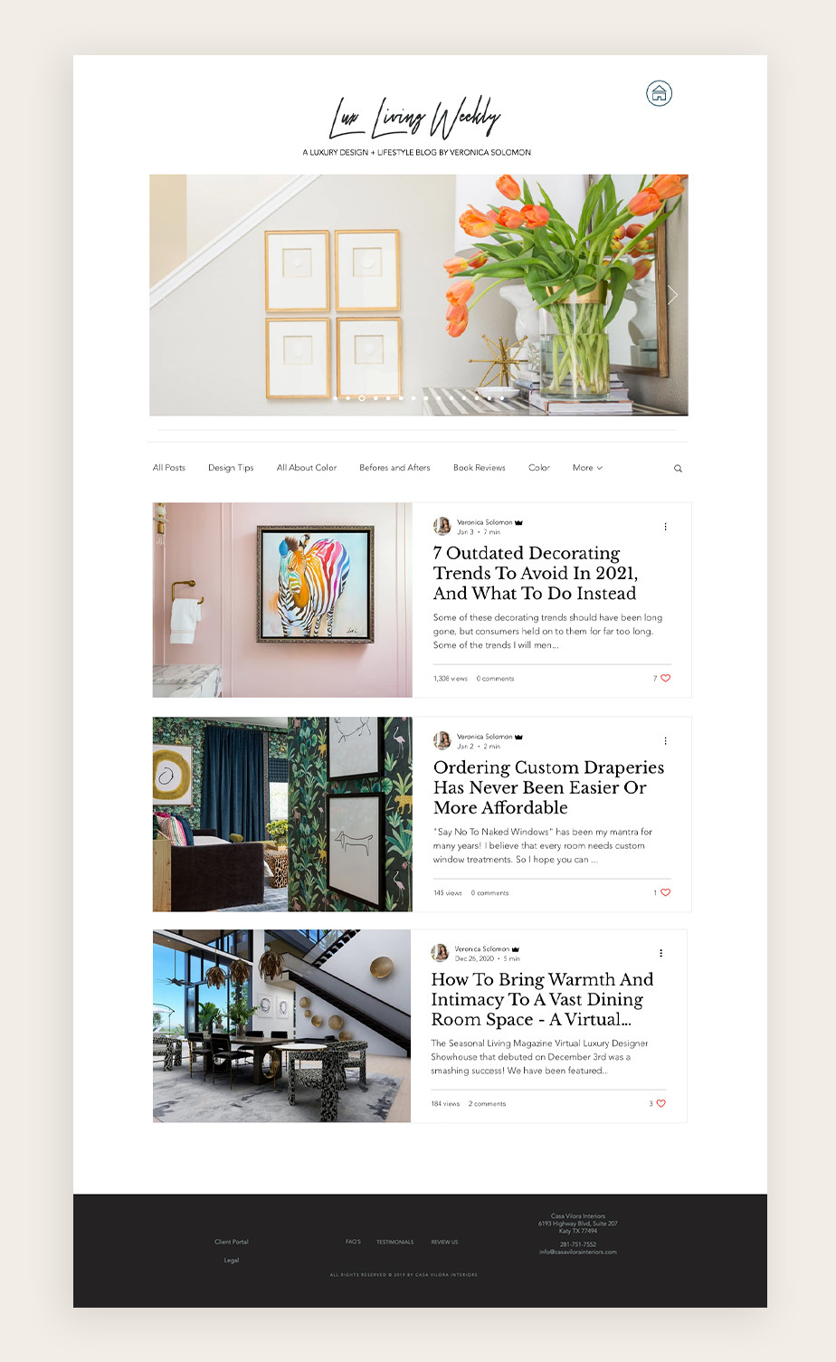 Interior design blog made by Lux Living Weekly