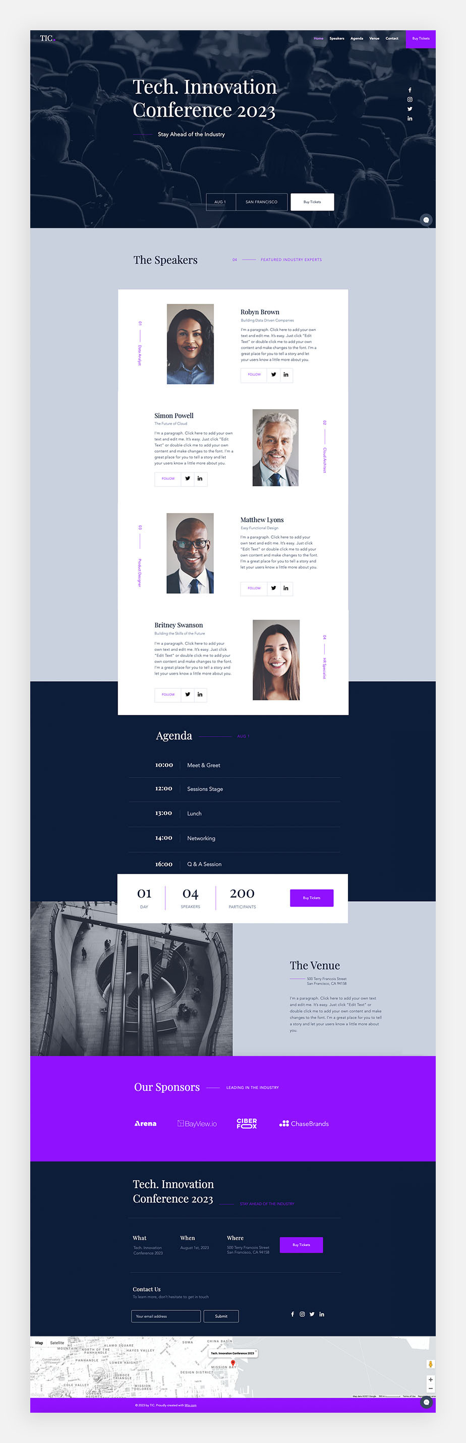 one page website for conference or event