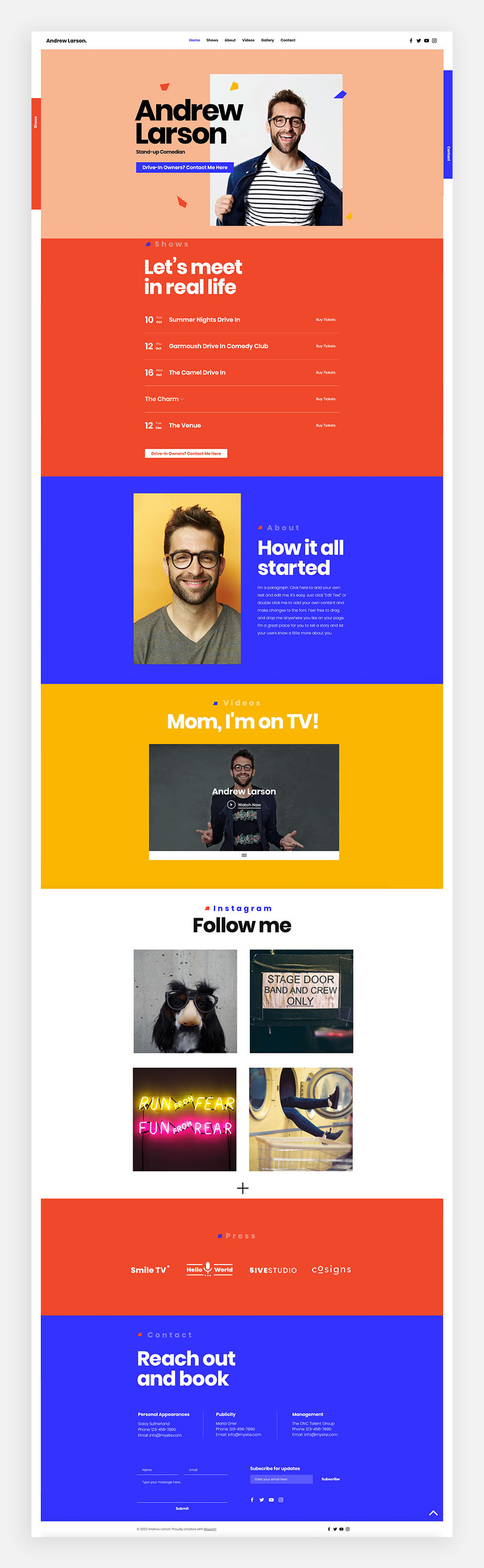 Stand-up Comedian one-page website template