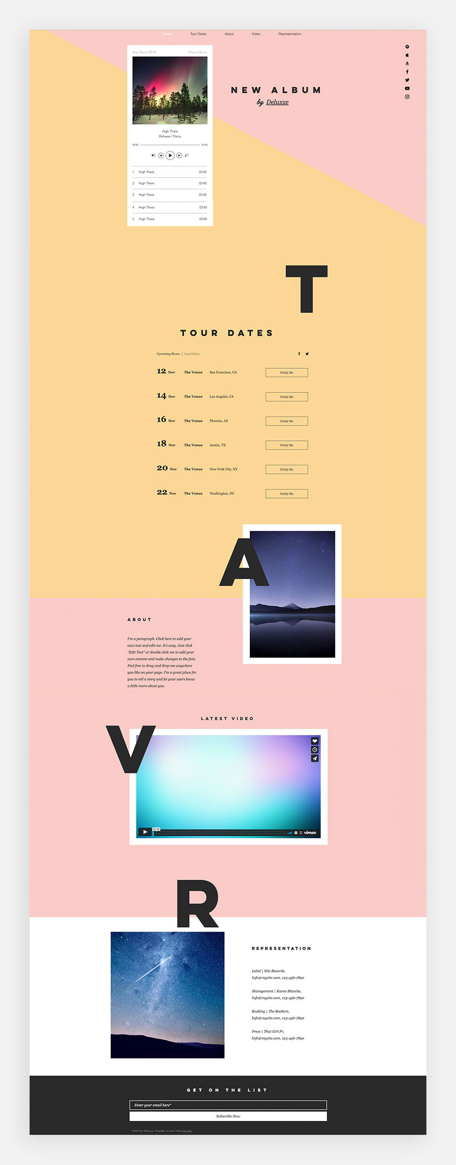 one page website pop music template
