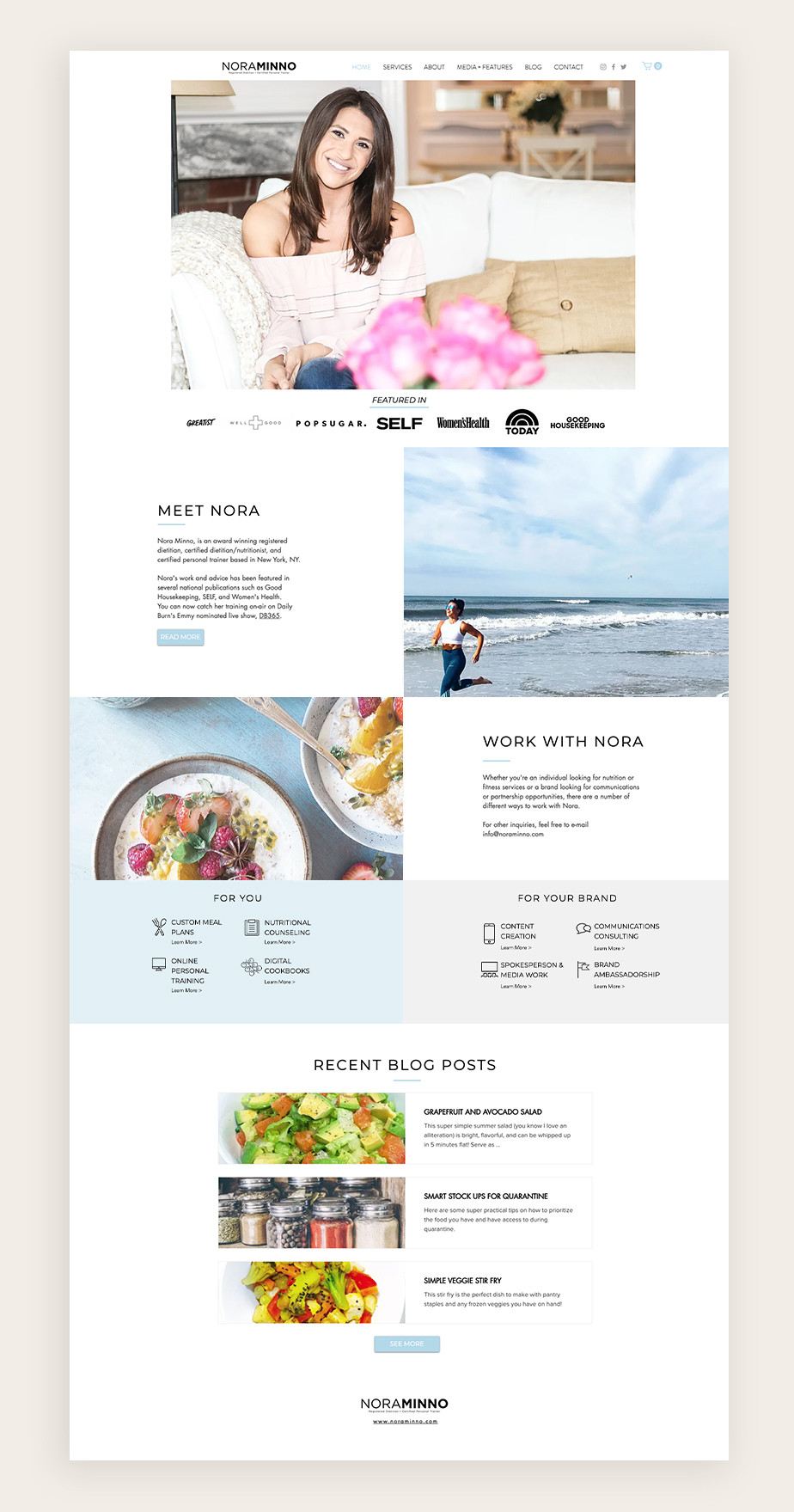 health and fitness blog example of Nora Minno