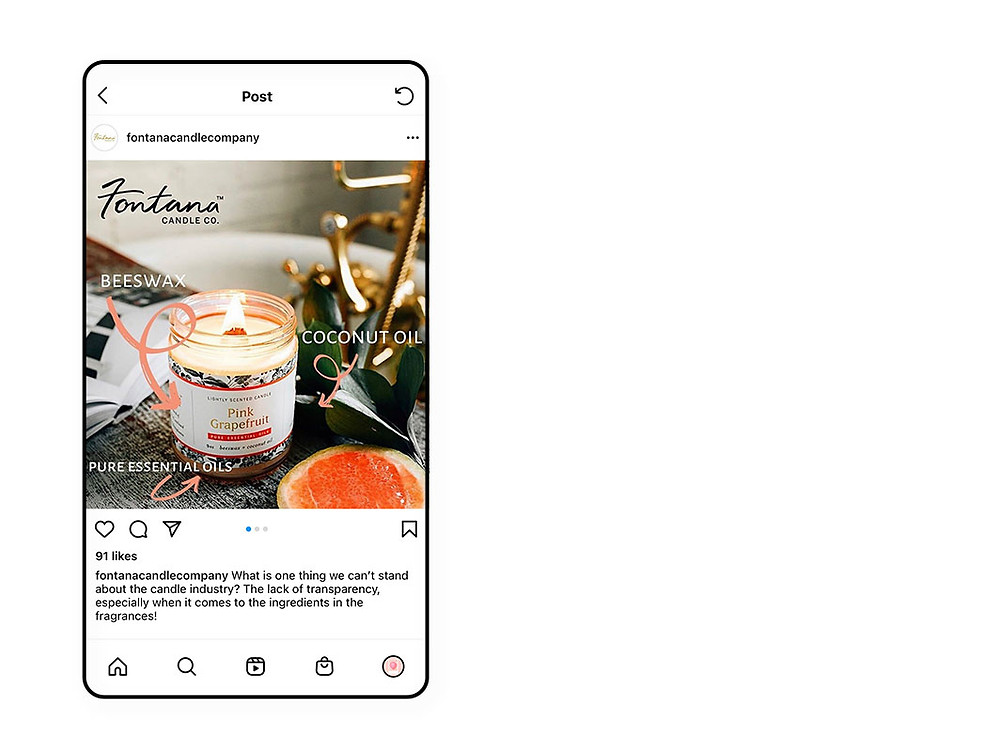 Fontana Candle Co. educational Instagram content strategy