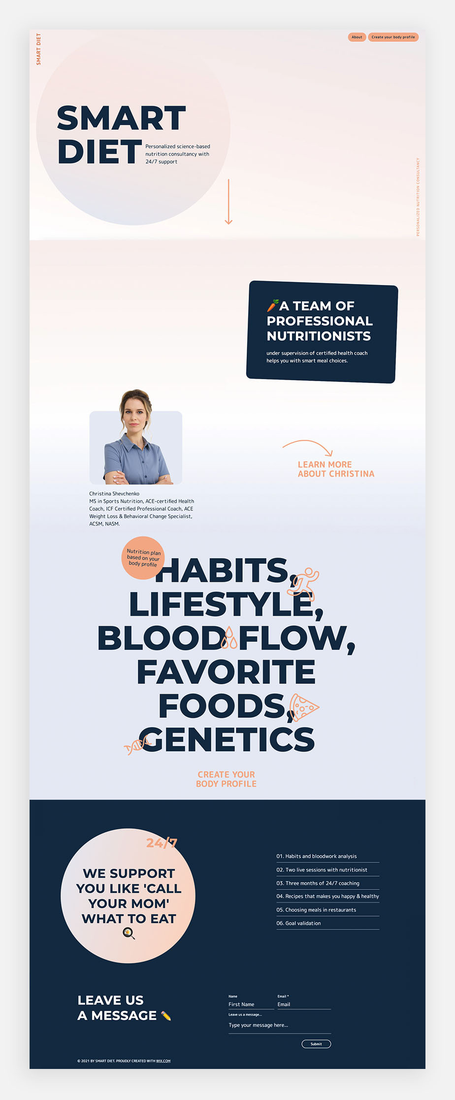 smart diet one page website