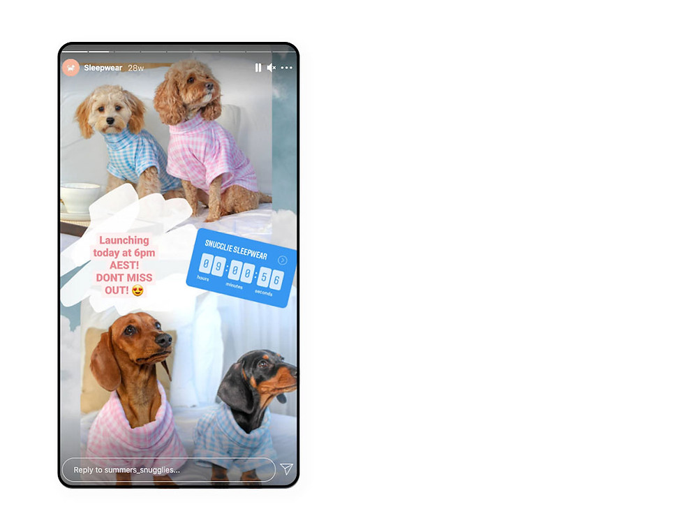 Summers Snugglies Countdown Sticker used for marketing on Instagram
