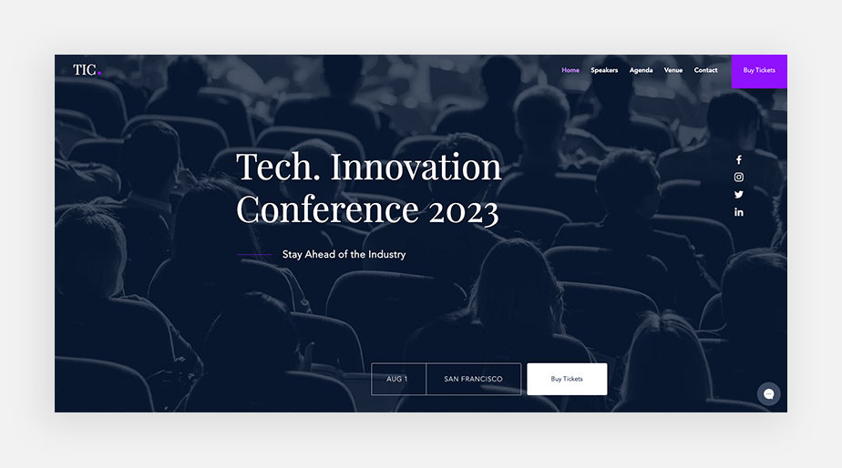 event landing page example