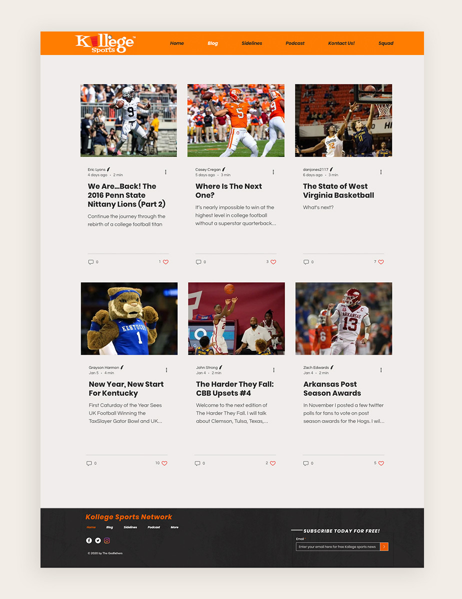 example of a sports blog by Kollege sports