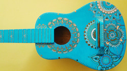 Turquoise and Gold Mandala Guitar