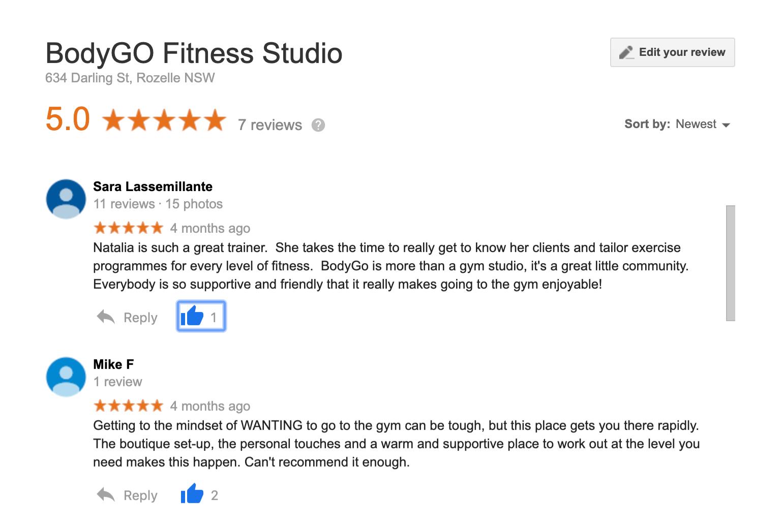 Google reviews: Sara & MIke