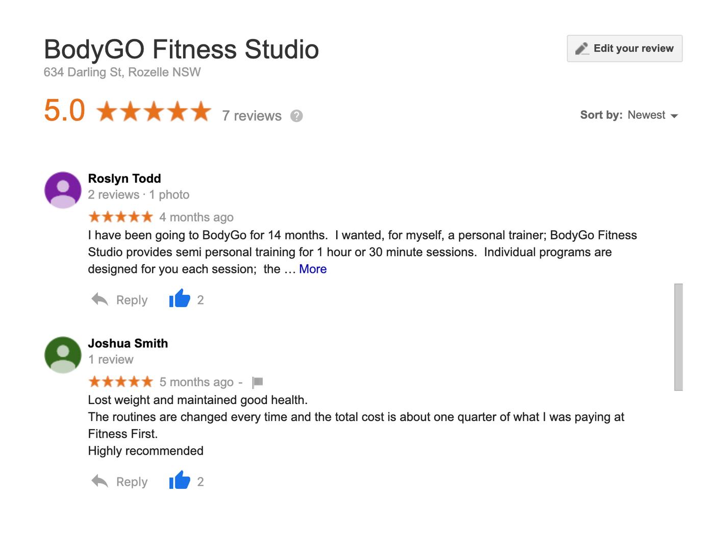 Google Reviews: Roslyn & Josh