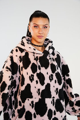 NEW GIRL ORDER FLUFFY COW SWEATER
