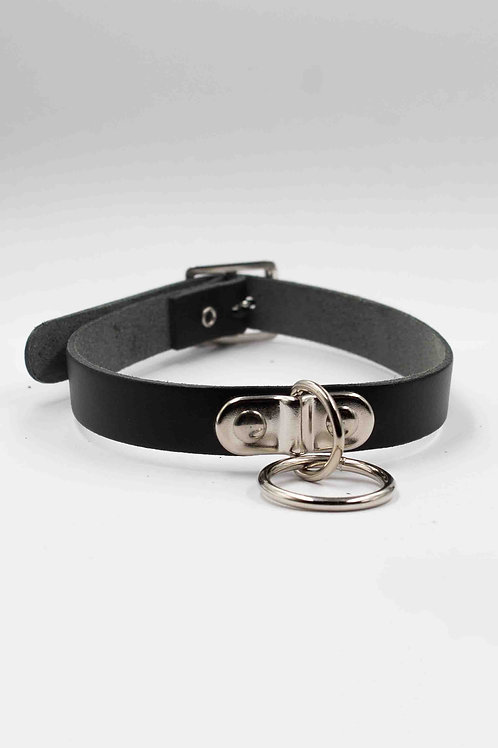 BLACK  SMALL CHOKER WITH SMALL HANGING RING