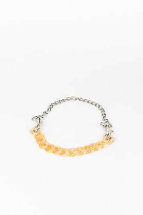 LUI TRASH PLASTIC CHAIN NECKLACE WITH KARABINER ORANGE