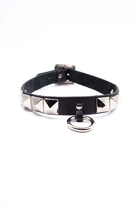 COEXIST CHOKER WITH RING AND STUDS