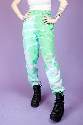 NEW GIRL ORDER GREEN TIE DYE PANTS