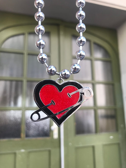 COEXIST GLITTER HEART SAFETY PIN NECKLACE