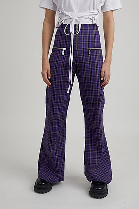 THE RAGGED PRIEST FLARE CHECKER PANTS