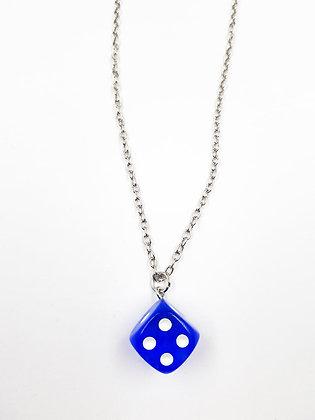 BLUE DICE NECKLACE