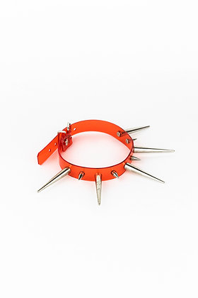 LUI TRASH RED LONG AND SHORT SPIKE CHOKER