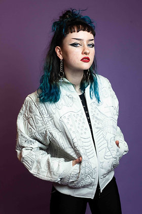 VINTAGE WHITE LEATHER EMBROIDERED NEW YORK BOMBER