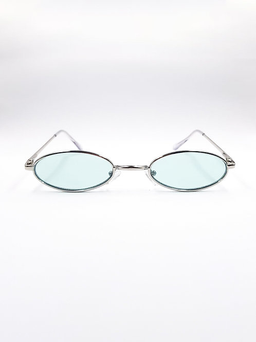 BLUE ROUND GLASSES