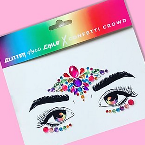 GLITTER DISCO CHILD RAINBOW PIXIE FACE GEMS