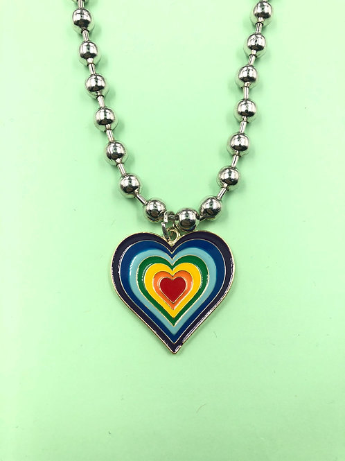 EXIT GOLD RAINBOW HEART NECKLACE
