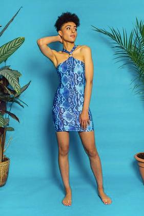 GET CROOKED BLUE HALTER DRESS