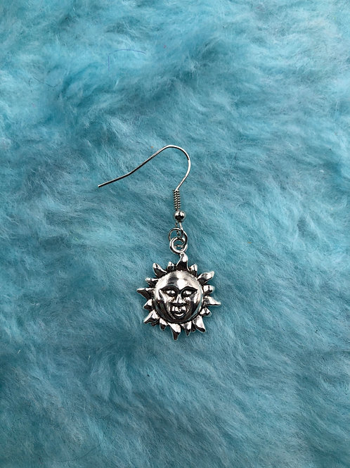 SUN WITH FACE HOOK EARRING