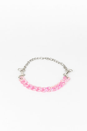 LUI TRASH PLASTIC CHAIN NECKLACE WITH KARABINER PINK