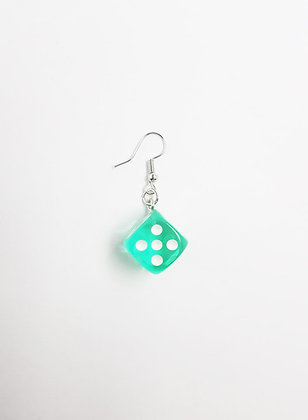GREEN DICE EARRING