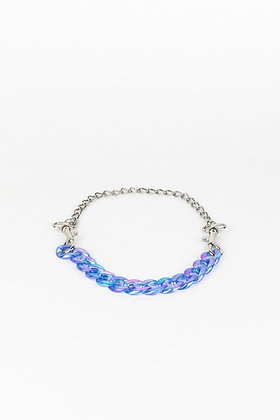 LUI TRASH PLASTIC CHAIN NECKLACE WITH KARABINER BLUE
