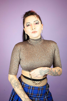 THERAPY UPCYCLED GLITTER CROP TOP