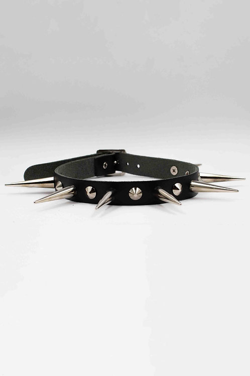 BLACK CHOKER WITH SPIKES AND STUDS