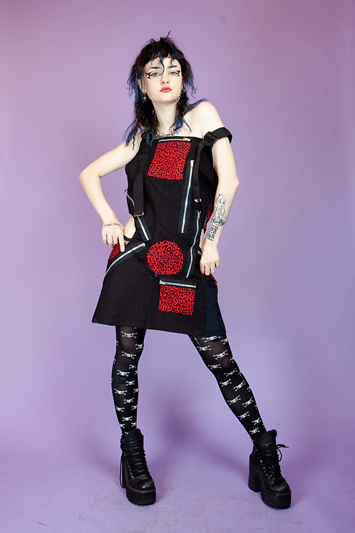 THERAPY UPCYCLED RED CUT OUT LEO DRESS