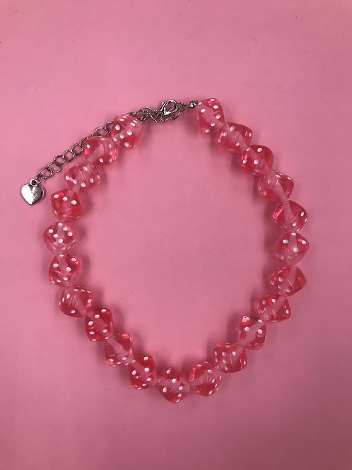 EXIT BABY PINK DICE CHOKER