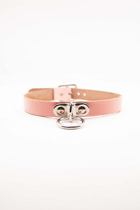 COEXIST BABY PINK  SMALL CHOKER WITH SMALL HANGING RING