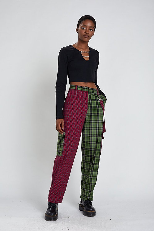 THE RAGGED PRIEST CHECK TWO COLOURED PANTS