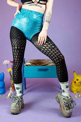GET CROOKED BLUE FOIL PANTS