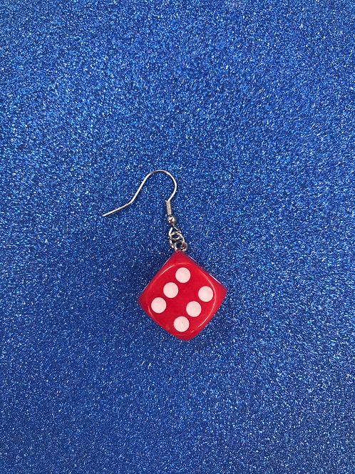 RED DICE EARRING