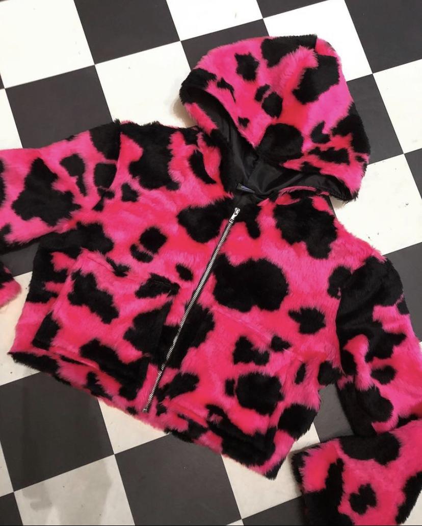 IA pink cow coat
