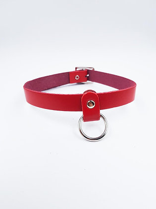COEXIST RED CHOKER HANGING RING ON LEATHER
