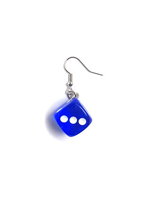 TRANSPARENT BLUE DICE EARRING