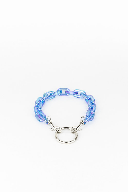 LUI TRASH PLASTIC CHAIN O RING HOLO BLUE